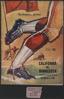 1964 Minnesota vs Cal, Football Game Pgm & Ticket Stub