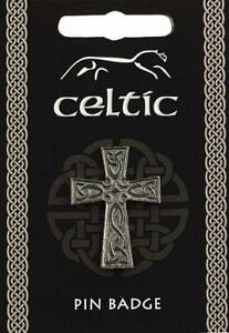 Celtic Cross Silver Pewter Lapel Pin Badge