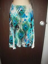 NEW BLUE PEACOCK VELVET SKIRT by THE PYRAMID COLLECTION size SMALL
