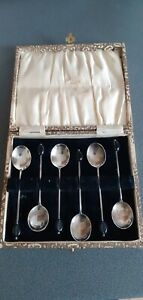 Art Deco Sterling Silver Coffee Spoons,  Sheffield 1930, Boxed