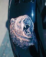 8x10 Handpainted Motorcycle Bear Art Photo Portfolio Page Airbrush Artist-Gift