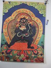 altes Mahakala mit Penis Götter Thangka  Seide Papier Holzdruck 90cm Tibet ~1970