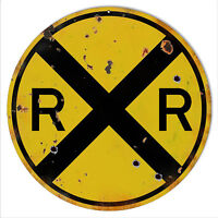 12 Round Aged Looking RR Railroad Crossing Sign