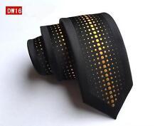 Black and Yellow Polka Dot Spot Patterned Handmade 100% Silk Skinny Wedding Tie