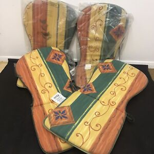 4 x Vintage Oasis Seat Pad Cushions High Back Garden Patio Kitchen Chairs 2001
