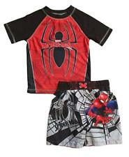 Spider-Man Little Boys Toddler Swim Trunks and Rash Guard Shirt Set 18M NEW