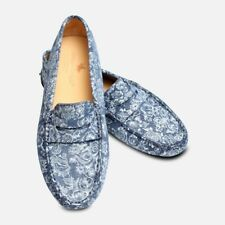 Navy Blue & Silver Flower Womens Leather Driving Shoes