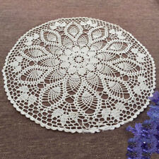 White Vintage Hand Crochet Lace Doily Round Table Topper Pineapple Pattern 23""