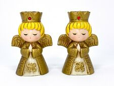 Lot of 2 Vintage Ardco Praying Angel Jeweled Crown Tapered Candle Holder, Gold