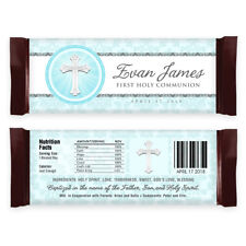 12 1st Holy Communion Baptism Christening Favors Candy Wrappers- Pink or Blue