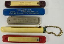 Set Of 5 Mid Century & Later Advertising Slide Knives: Automotive, Chemical Etc.