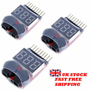 Lipo Battery Low Voltage Alarm 1S-8S Volt tester Checker LED display - Brand New