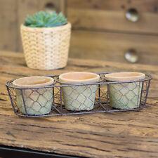 Set of 3 Rustic Aged Terracotta Herb Plant Pots Planters Trough Flowers Kitchen