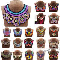 Ethnic Boho Beaded Statement Necklace Tribal Bib Fake Collar Pendants Bohemia