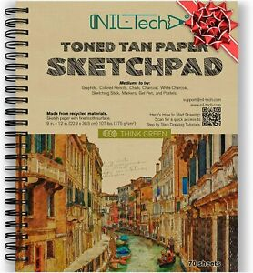 Toned Tan Sketch Book 70 Sheets 9x12 Inches (107lb/175gsm) Fine Tooth Spiral Bnd