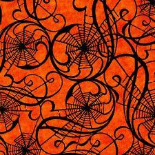 Fabric #2518 Black Spider Webs on Orange, Jason Yenter, IBF, Sold by 1/2 Yard