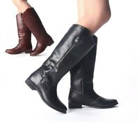 LADIES WOMENS REAL LEATHER SHE SOLE BRANDED KNEE HIGH RIDING BOOTS SHOES SIZE