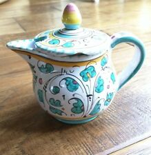 Vintage Deruta Blue/Green ROOSTER Small Pitcher Lid Sugar Creamer P V ITALY