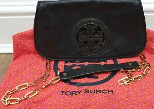 TORY BURCH Navy Black Leather Gold Tone Detachable Shoulder Strap Clutch Bag