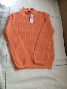 NWT J Crew Women's Orange Pointelle ruffle mockneck sweater AK180 Size XXS $79