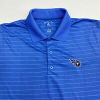 Tennessee Titans Polo Shirt Men's Large Short Sleeve Blue Striped 100% Polyester