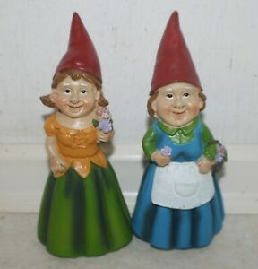 2 x Mini Fairy Garden, Patio, Yard Lady Gnomes - Lilly & Isobella Ht: 16 cm. NEW