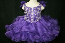 Purple Ruffled Baby Infant Toddler Girls Glitz Cupcake Pageant Dress 0-5T