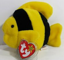 """RARE! TY Beanie Babies """"BUBBLES"""" Yellow & Black Clown Fish - MWMTs! GREAT GIFT!"""