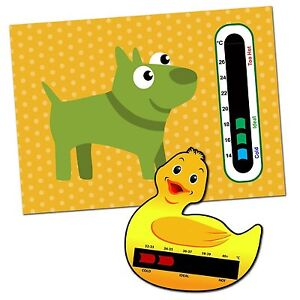 Baby & Child Thermometer Pack - Duck Baby Bath and Doggy Baby Room Thermometers