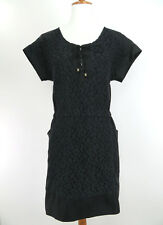 Sea New York Womens Dress Size 4 Black Cap Sleeve Short Crochet Lace Pockets