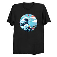 Ponyo Great Wave Off Kanagawa Art Japanese Mashup Funny Anime Black T-shirt S6XL