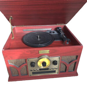 Art+Sound Turntable 6-In-One Bluetooth Entertainment System W/ Radio CD Tape