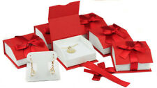LOT OF 6 T-SHAPED EARRING / PENDANT BOX JEWELRY GIFT BOX MAGNETIC RIBBON RED BOX