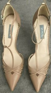 SJP Womens Leather Slip On Pointy Toe Ankle Strap Heels Size 40 - 1A-3246