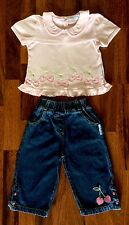 Girls Nusery Time (UK) 2 Piece Set Jeans & Top Cherry Motif (Twins) Size 1+