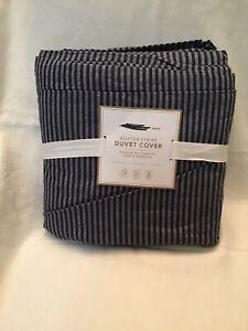 Pottery Barn Teen Boxter Stripe Duvet Cover Full/Queen NWT Navy
