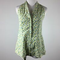 Talbots 2 Blouse Shirt Sleeveless Floral Blue Yellow Stretch Popover