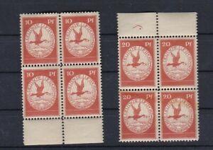 D.R. Flugpost, Mi. I u. II, 10Pf u. 20Pf, 4er Block postfrisch, Kurzbefund(B832)