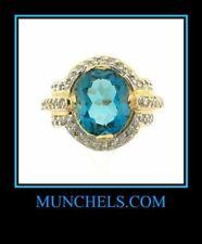 10K YELLOW GOLD LONDON BLUE TOPAZ & DIAMOND RING