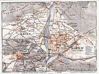 Bolzano Bozen Gries 1929 picc. pianta città + carta orig. Laubengasse Guntschna