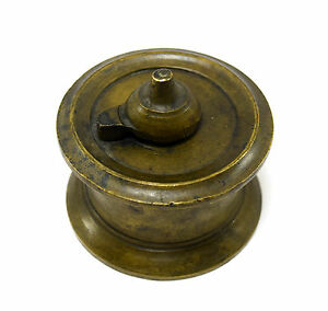 Antique Primitive Brass Inkwell Rare Handcrafted Collectible Inkpot. G67-33 US