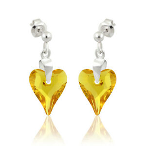 Sterling Silver Earrings Studs made with 6240 Heart 12mm Swarovski® Crystals