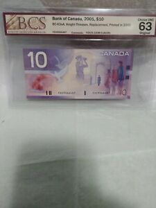 Bank of Canada, BC-63aA, $10 Replacement Note - Ch.Unc 63