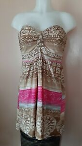 Guilty Strapless Printed Mini Dress/Long Top, sz L on tag