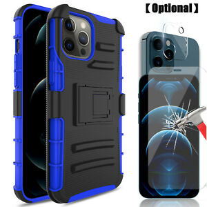 For iPhone 12 Pro Max / 11 / XS Rugged Belt Clip Holster Case , Screen Protector