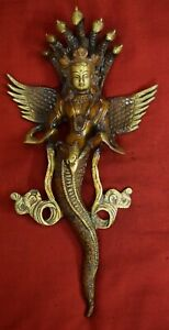 Brass Wall Hanging Mermaid With Snake Crown Figure Room Welcome Gate Decor VR56