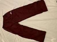 Children Youth Unisex Adidas Maroon Gray Lined XXL Athletic Track Pants 33857
