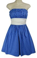 BETSEY JOHNSON babydoll tea dress 50s full pinup polka dot blue white corset S 6