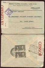 ADEN CAMP 1942 CENSOR No.18 to INDIA 1937 CORONATION...DEFENCE CERTS BOXED
