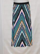 Bob Mackie Printed Elastic Waist Maxi Knit Skirt Size 1X Black Multi